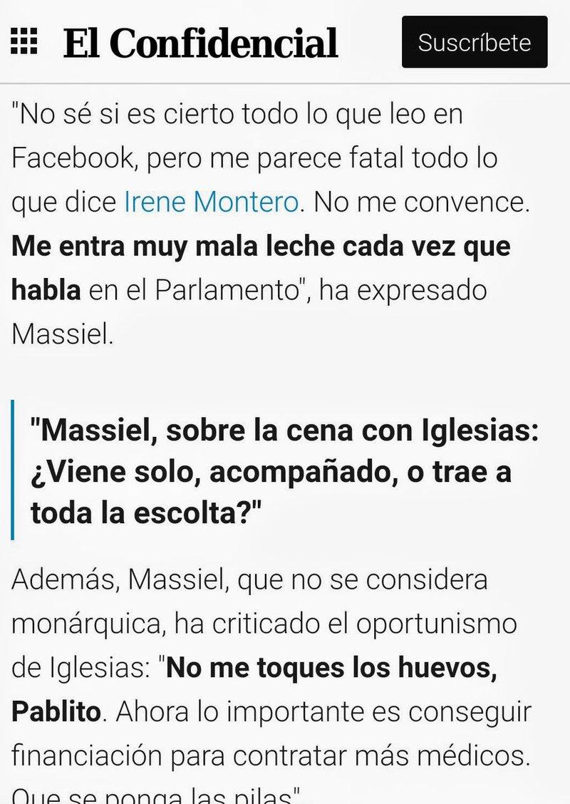 Masiel critica a la ministra de igualdad