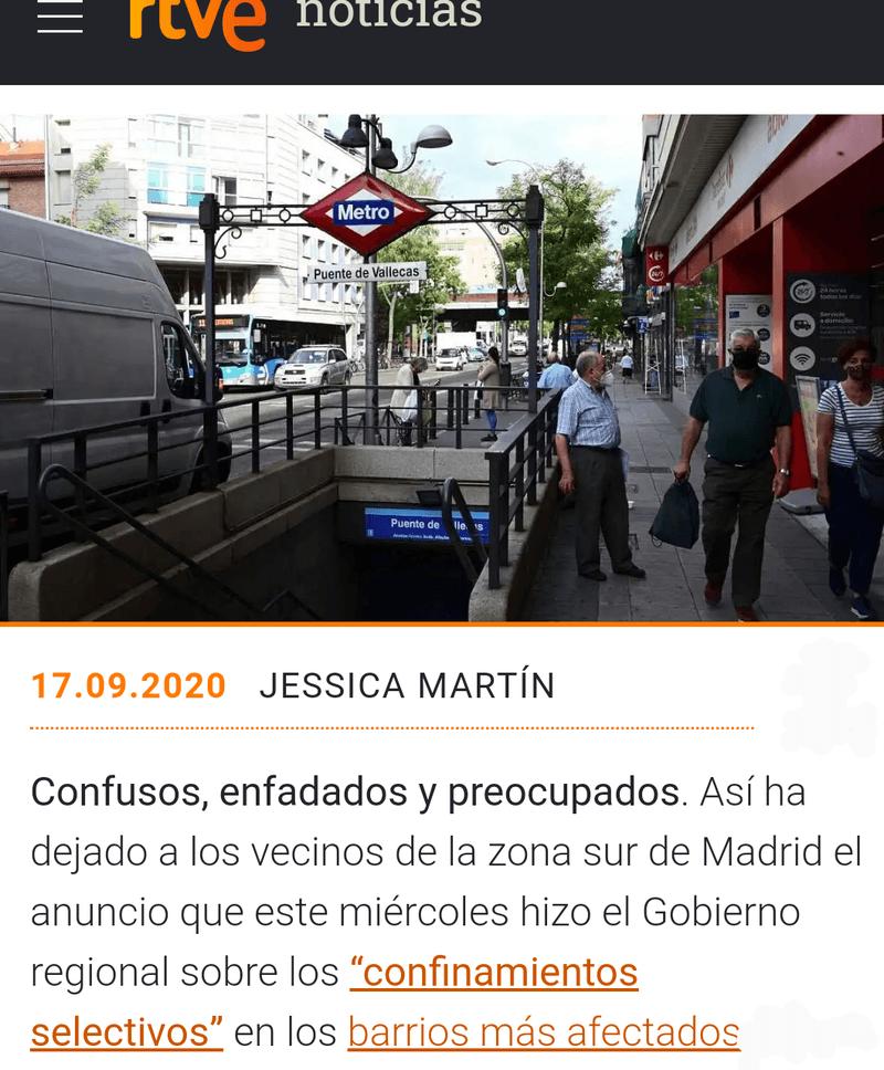 No al confinamiento de Madrid Vallecas